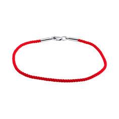Плетеный шелковый браслет с родированной серебряной застежкой, 2мм 000057092 45 размера от Zlato