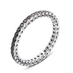 Кольцо из белого золота с черными бриллиантами 000124853 16.5 размера от Zlato