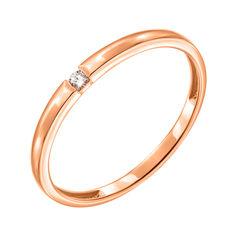 Кольцо из красного золота с бриллиантом 000139794 17.5 размера от Zlato