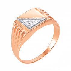 Золотой перстень-печатка в комбинированном цвете с цирконием 000106284 19.5 размера от Zlato