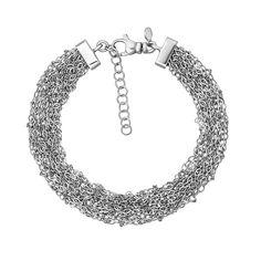 Многослойный серебряный браслет в якорном плетении 000131686 17.5 размера от Zlato