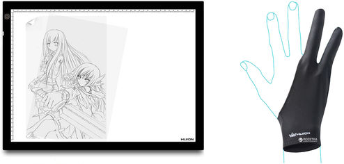 Акция на LED планшет (светокопировальный) Huion A3 с перчаткой от Rozetka