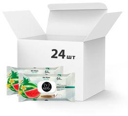 Акция на Упаковка влажных салфеток Papilion Арбуз Premium Quality с пластиковой крышкой 24 x 64 шт (8692857015928) от Rozetka