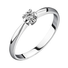 Акция на Помолвочное кольцо из белого золота с бриллиантом 0,07ct 000034682 15 размера от Zlato