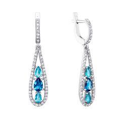 Серебряные серьги с кварцем под лондон топаз, голубым кварцем и фианитами 000063597 от Zlato