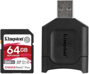 Kingston SDXC 64GB Canvas React Plus Class 10 UHS-II U3 V90 + USB-кардридер (MLPR2/64GB) от Rozetka