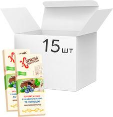 Упаковка молочного шоколада Корисна Кондитерська с рисовыми шариками и черникой со стевией 100 г х 15 шт (14820158920295) от Rozetka