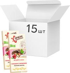 Упаковка молочного шоколада Корисна Кондитерська с фундуком и клюквой со стевией 100 г х 15 шт (14820158920318) от Rozetka