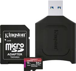 Kingston MicroSDXC 64GB Canvas React Plus Class 10 UHS-II U3 V90 A1 + SD-адаптер + USB-кардридер (MLPMR2/64GB) от Rozetka