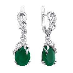 Серебряные серьги-подвески с зеленым агатом и фианитами 000134520 от Zlato