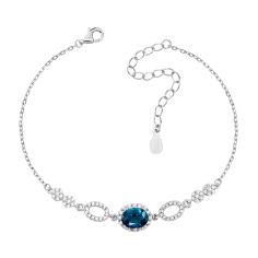Серебряный браслет с лондон топазом и фианитами 000133825 16.5 размера от Zlato