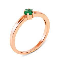 Кольцо из красного золота с изумрудом 000131387 17.5 размера от Zlato