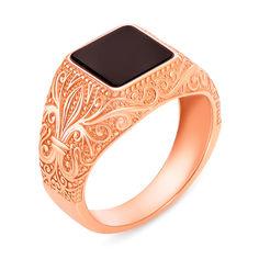 Перстень-печатка из красного золота с ониксом 000134120 21 размера от Zlato