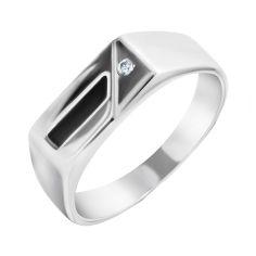 Серебряный перстень-печатка с черной эмалью и завальцованным фианитом 000093476 19.5 размера от Zlato