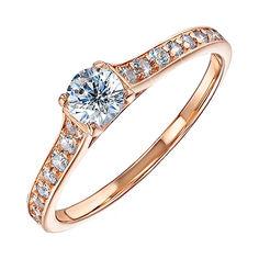 Золотое кольцо с цирконием 000054216 17.5 размера от Zlato