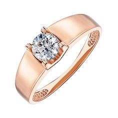 Помолвочное кольцо из красного золота с фианитом 000103773 19.5 размера от Zlato