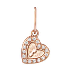 Кулон-сердце из красного золота с фианитами 000103920 от Zlato