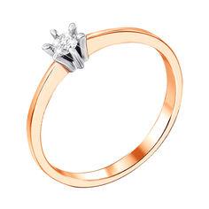 Кольцо в красном и белом золоте с бриллиантом 000104132 18.5 размера от Zlato