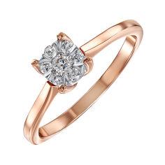Золотое помолвочное кольцо в комбинированном цвете с бриллиантом 000104398 16 размера от Zlato