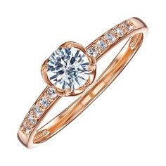 Кольцо из красного золота с фианитами 000104606 16.5 размера от Zlato