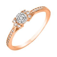 Кольцо из красного золота с фианитами 000106109 18 размера от Zlato