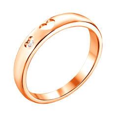 Кольцо из красного золота с бриллиантом и сердечками 000131432 17 размера от Zlato