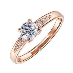 Кольцо из красного золота с фианитами 000055247 15.5 размера от Zlato
