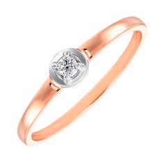 Золотое помолвочное кольцо Севил в комбинированном цвете с бриллиантом и круглым кастом 000104399 16.5 размера от Zlato