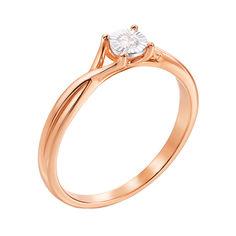 Кольцо в красном и белом золоте с бриллиантом 000117678 15.5 размера от Zlato
