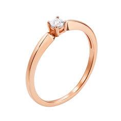Золотое кольцо в комбинированном цвете с бриллиантом 000117667 15.5 размера от Zlato