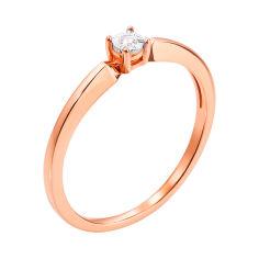 Золотое кольцо в комбинированном цвете с бриллиантом 000117667 17.5 размера от Zlato