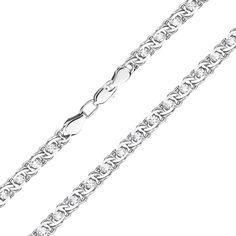 Серебряный браслет в плетении бисмарк с фианитами, 4,5мм 000118141 17 размера от Zlato