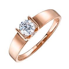 Помолвочное кольцо из красного золота с цирконием Swarovski 000122747 16.5 размера от Zlato