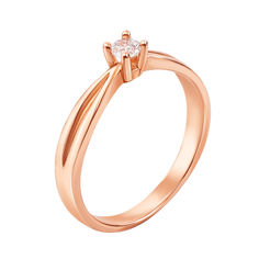 Кольцо в красном золоте Лаверна с кристаллом Swarovski 15.5 размера от Zlato