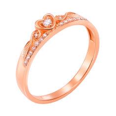 Кольцо-корона из красного золота с фианитами 000000255 000000255 16 размера от Zlato