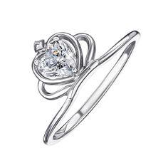 Серебряное кольцо-корона с кристаллом Swarovski 000119318 17 размера от Zlato