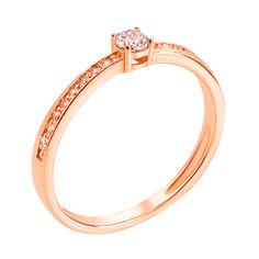 Помолвочное кольцо из красного золота с фианитами 000130230 000130230 15.5 размера от Zlato