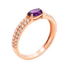 Кольцо из красного золота с аметистом и цирконием 000143510 16.5 размера от Zlato