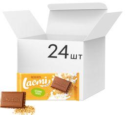 Упаковка шоколада Roshen Lacmi молочный с сезамом 90 г х 24 шт (4823077629228) от Rozetka