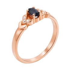 Кольцо из красного золота с сапфиром и бриллиантами 000124866 16 размера от Zlato