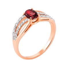 Золотое кольцо в комбинированном цвете с гранатом и цирконием 000143508 16.5 размера от Zlato