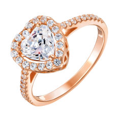 Золотое кольцо Николета в красном цвете с сердечком и кристаллами Swarovski 17.5 размера от Zlato