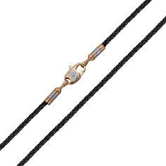 Акция на Шнурок из кожи и комбинированного золота 000141440 65 размера от Zlato