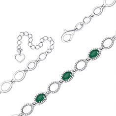 Серебряный браслет с зелеными агатами и фианитами 000093537 17 размера от Zlato