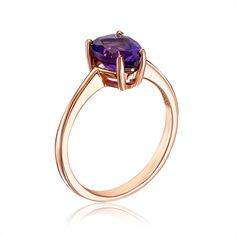 Кольцо из красного золота с аметистом 000127109 17 размера от Zlato
