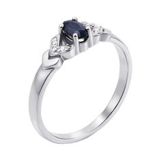 Кольцо из белого золота с сапфиром и бриллиантами 000131204 17 размера от Zlato