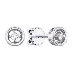 Серьги-пуссеты из белого золота с бриллиантами 000124914 от Zlato