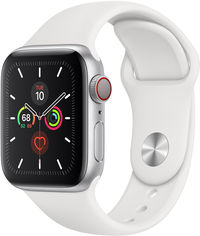 Apple Watch Series 5 40mm GPS+LTE Silver Aluminum Case with White Sport Band (MWWN2) от Y.UA