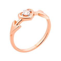 Золотое кольцо с фигурной шинкой и фианитом 000101661 000101661 17 размера от Zlato