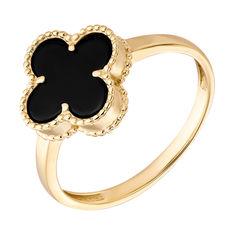 Кольцо из желтого золота Клевер с черным агатом 000096640 18 размера от Zlato